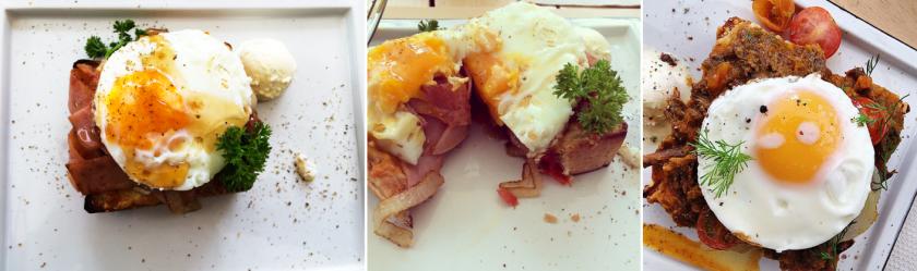 Esta es la versión del pato/tostada de pan. Acá probamos un Pato Necio: queso chedar, tocineta y huevo poché.
