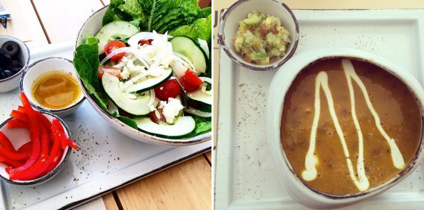 ¿Más opciones? Ensalada griega o sopa caserita de lentejas