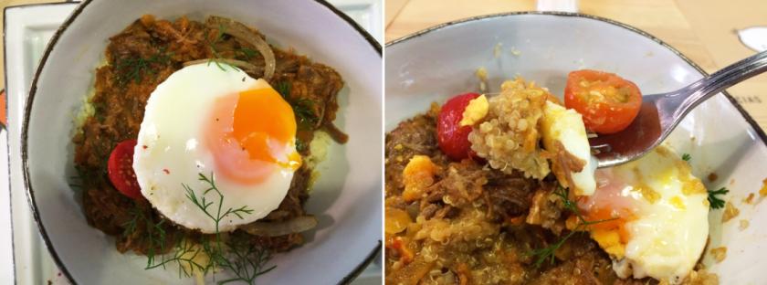 A rienda suelta: carne en hilo con hogao y huevo poché