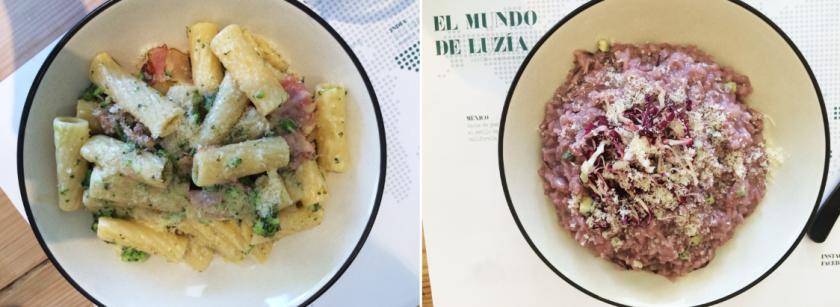 Pastas y risottos. Izquierda: rigatoni con brócoli y panceta. Derecha: risotto di radicchio y gorgonzola