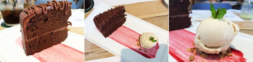 Torta de chocolate con helado de vainilla.