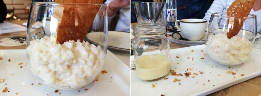 Arroz con leche que viene con leche condensada aparte.